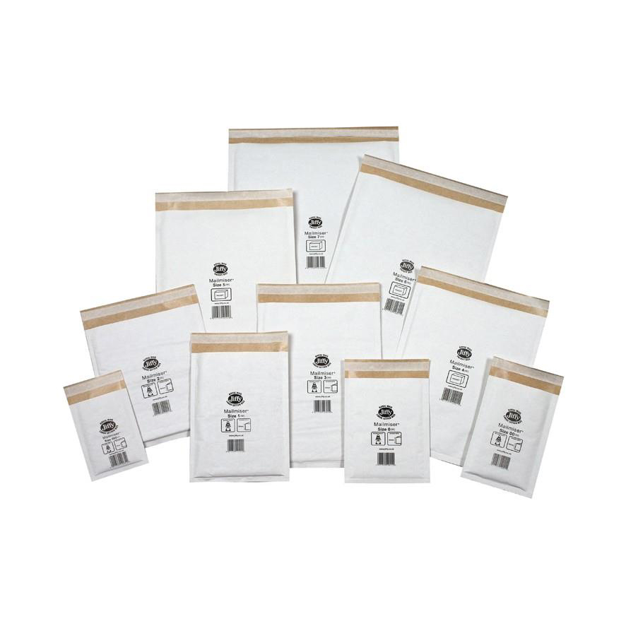 Jiffy Mailmiser Protective Envelopes Bubble-lined Size 2 205x245mm White Ref JMM-WH-2 Pack 100