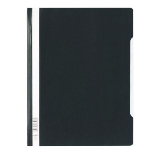 Durable Clear View Folder Plastic with Index Strip Extra Wide A4 Black Ref 257001 Pack 50