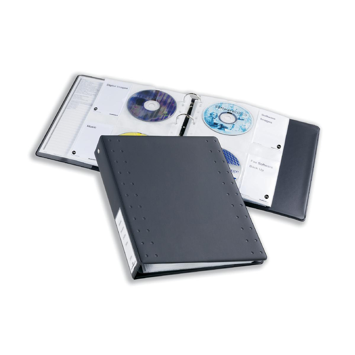 Durable CD and DVD Index Ring Binder Holds 60 Disks A4 Charcoal Ref