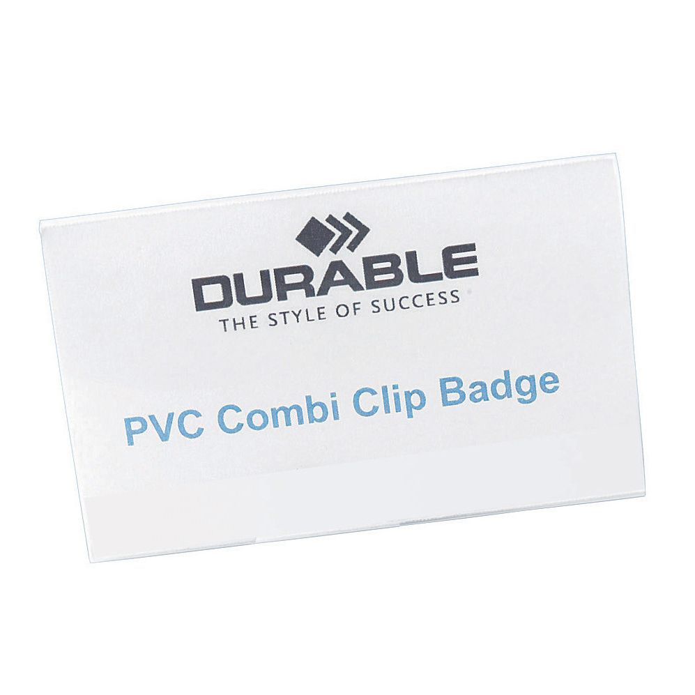 Durable Name Badges Combi Clip for Pin or Clip to Clothing 54x90mm Ref 8101-19 Pack 50