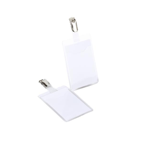 Durable Name Badges Visitors with Rotating Clip W60xH90mm Portrait Ref 8107-19 Pack 25