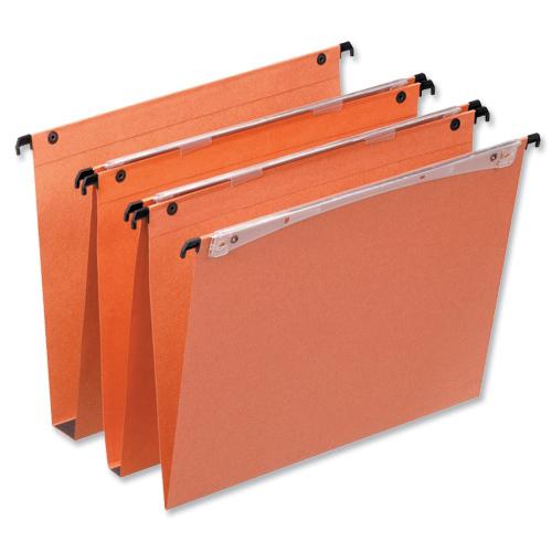 Esselte FSC Orgarex Suspension File Dual Linking Rcyc 30mm Wide-base 120gsm A4 Orange Ref 21633 [Pack 25]