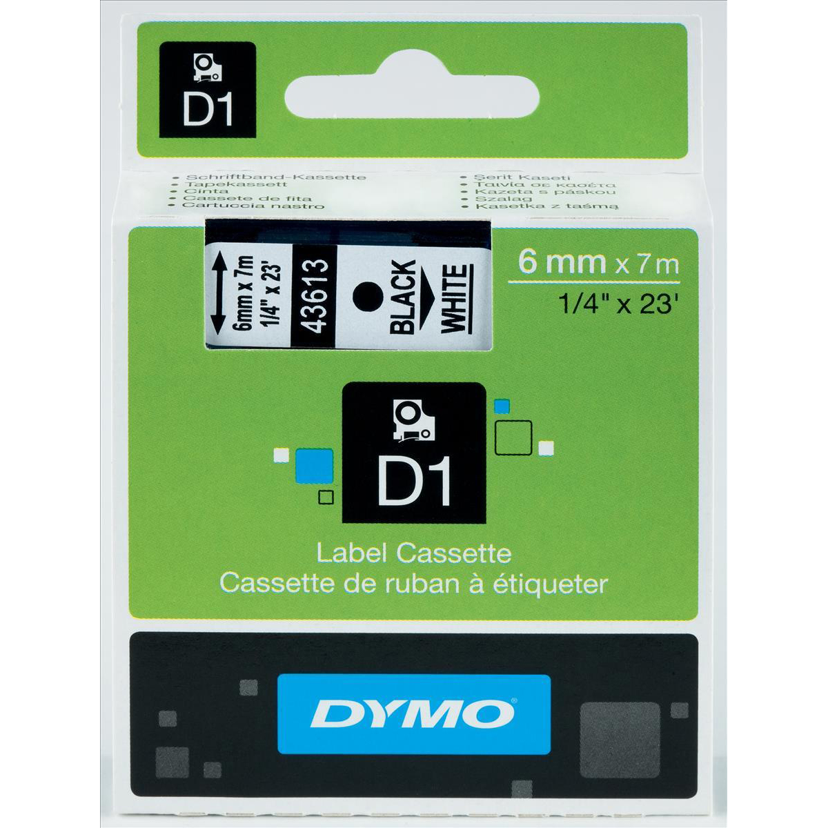 Label making tapes Dymo D1 Tape for Electronic Labelmakers 6mmx7m Black on White Ref 43613 S0720780