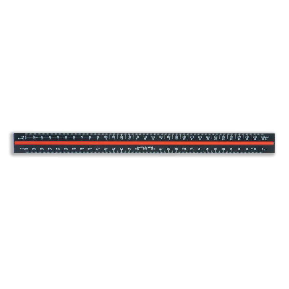 Linex Scale Ruler Triangular Aluminium Colour-coded Scales 1-1 to 1-2500 Black Ref LXH382