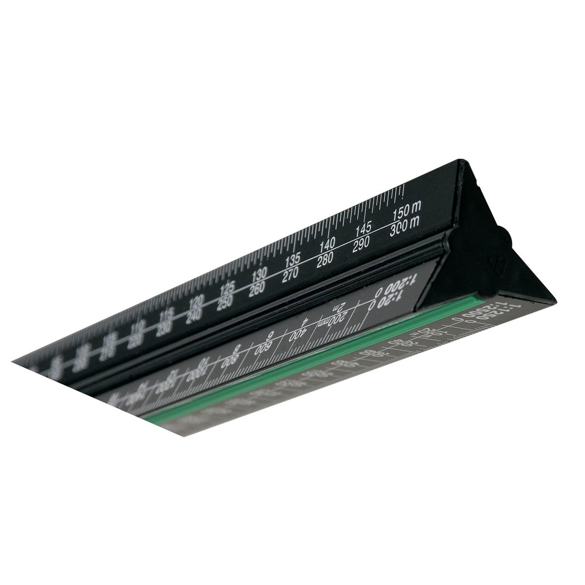 Linex Scale Ruler Triangular Aluminium Colour-coded Scales 1:1 to 1:2500 300mm Black Ref LXH382