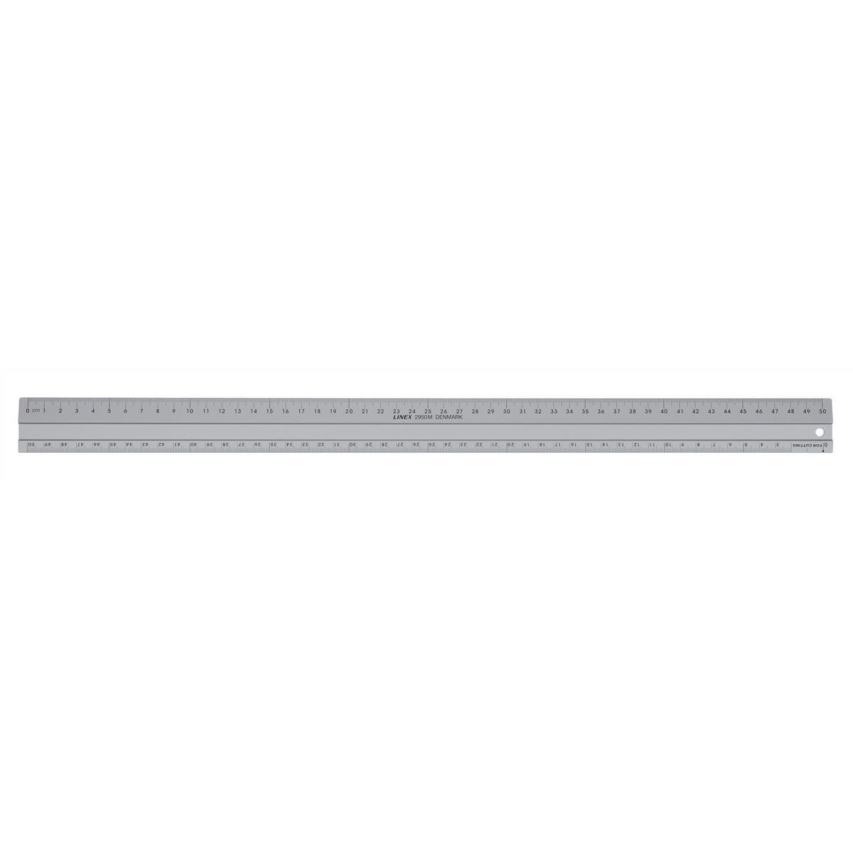 Linex Hobby Cutting Ruler Anti-slip Light Aluminium 1 Bevelled 1 Plain Side 500mm Silver Ref LXE2950M