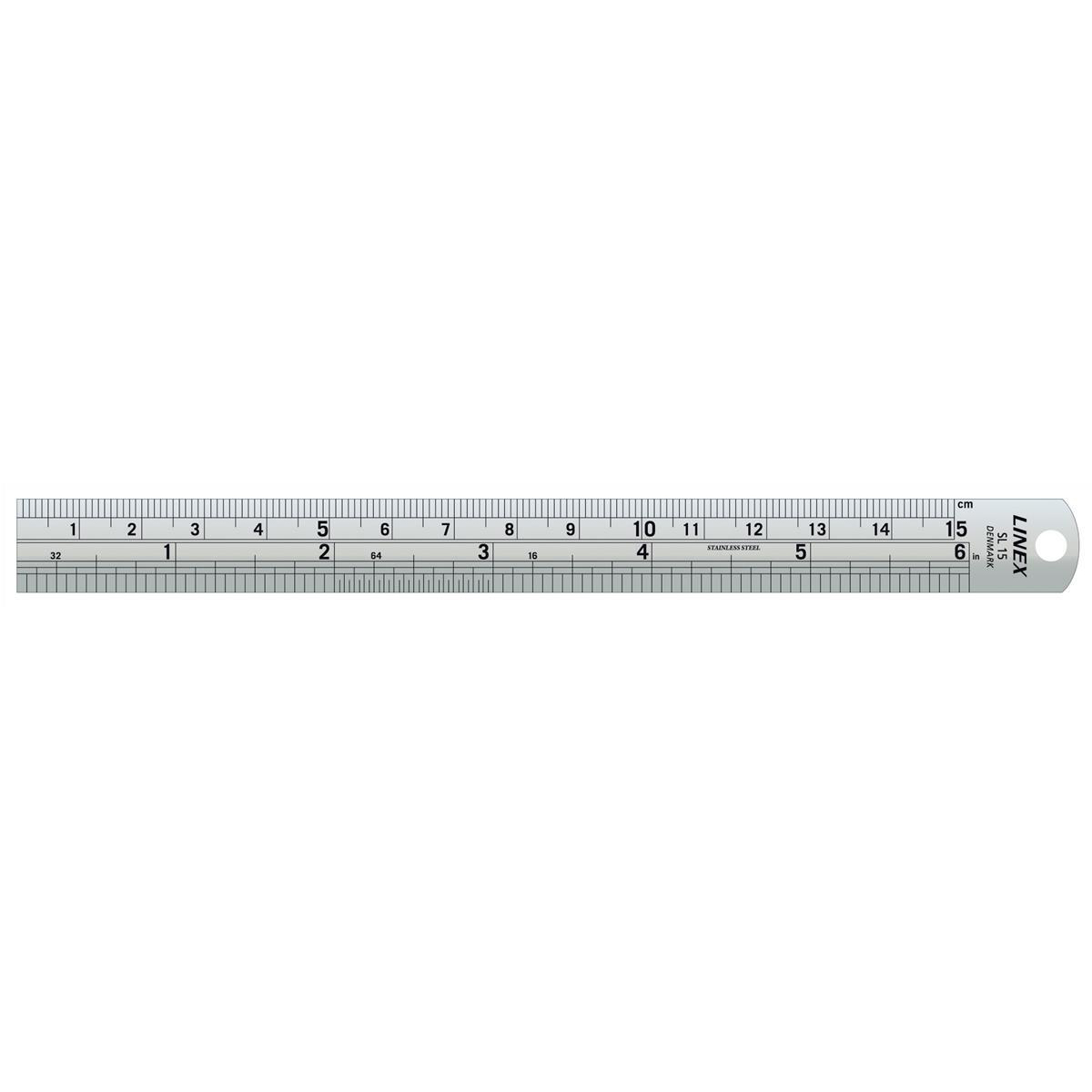 Rulers Linex Ruler Stainless Steel Imperial and Metric with Conversion Table 150mm Silver Ref LXESL15