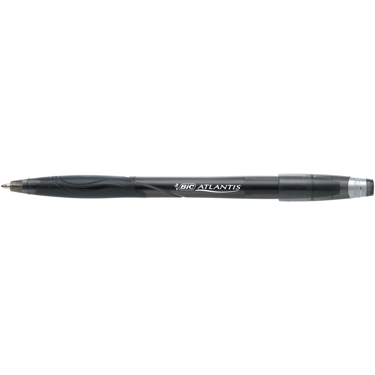Bic Atlantis Stic Ball Pen Cushion Grip Medium 1.0mm Tip 0.32mm Line Black Ref 837386 [Pack 12]