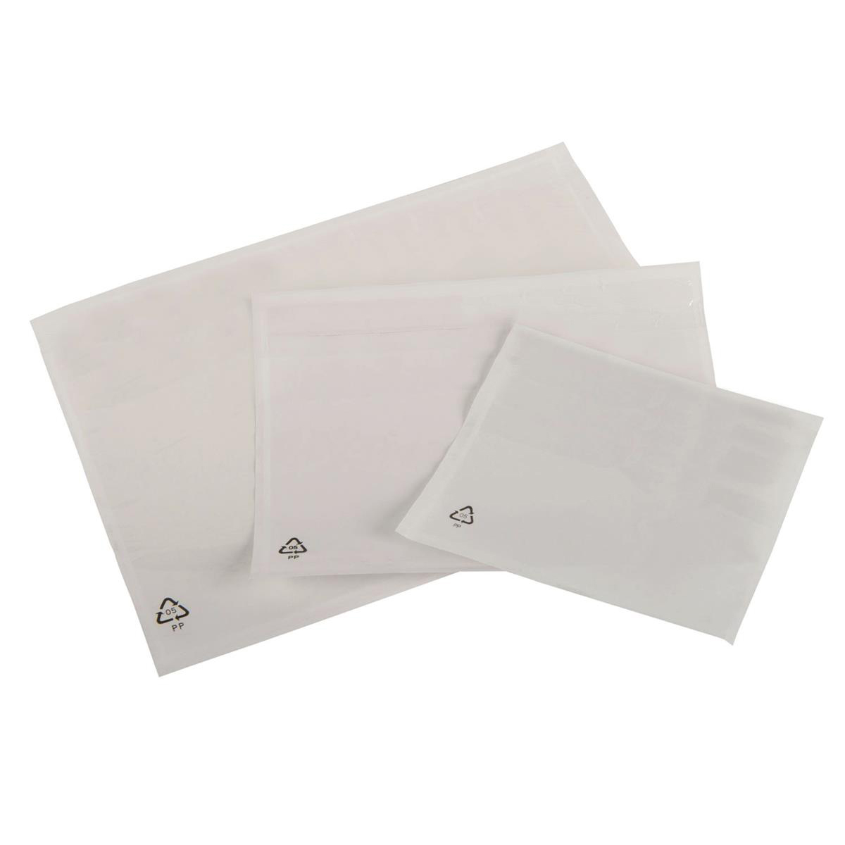 Packing List Document Wallet Polythene Plain Waterproof DL 225x122mm White [Pack 1000]