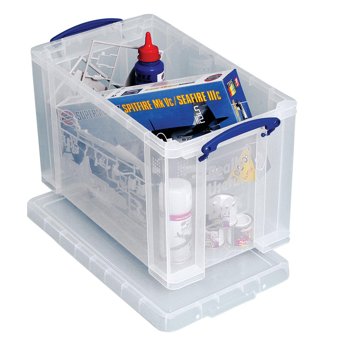 Tool Boxes Really Useful Storage Box Plastic Lightweight Robust Stackable 24 Litre W270xD464xH282mm Clear Ref 24C