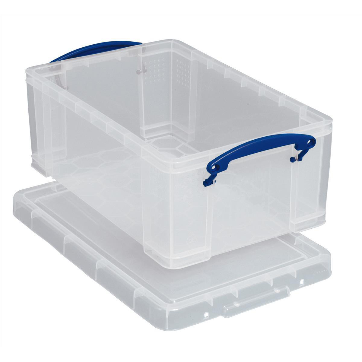 Really Useful Storage Box Plastic Lightweight Robust Stackable 5Litre W200xD340xH125mm Clear Ref3x5C[Pk3]