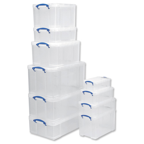Really Useful Storage Box Plastic Lightweight Robust Stackable 5Litre W200xD340xH125mm Clear Ref3x5CPk3