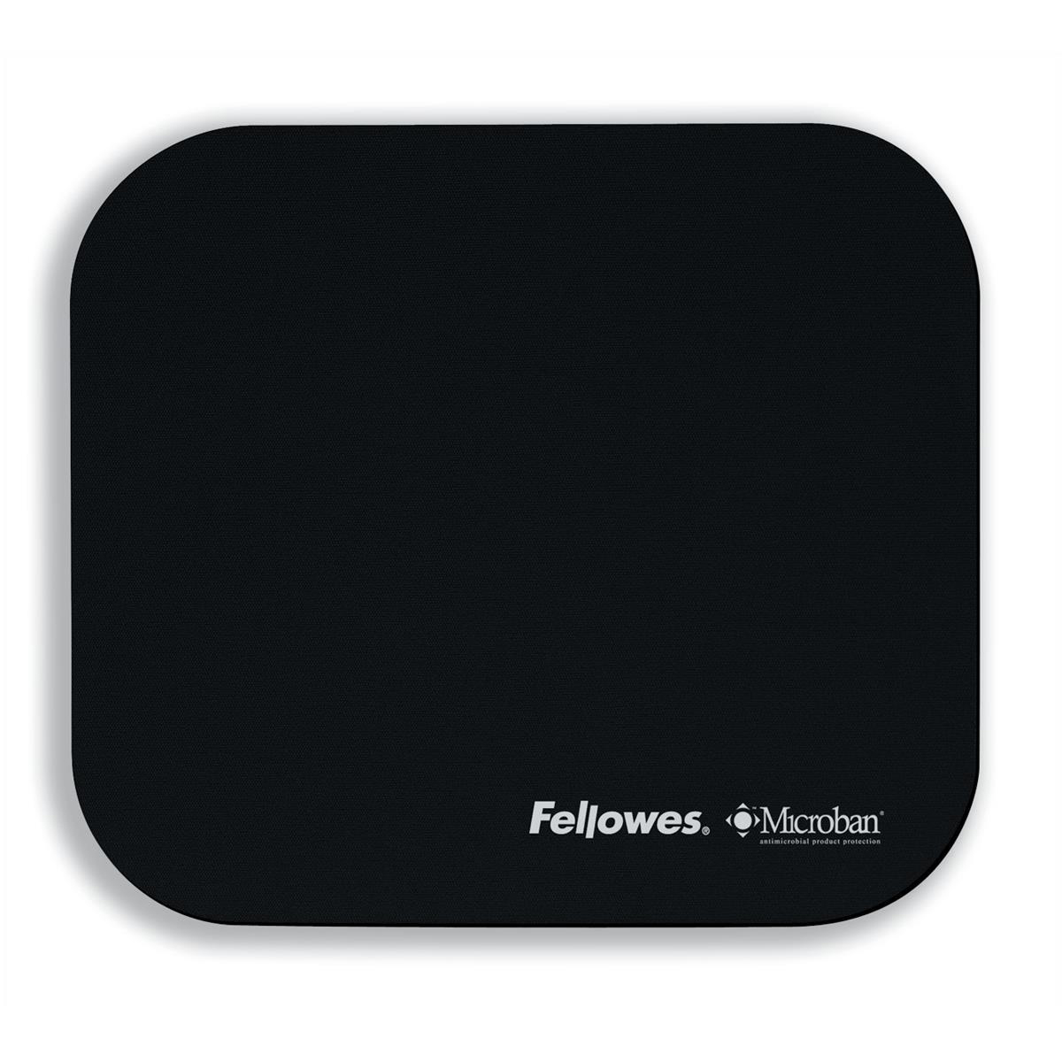 Mouse Mats Fellowes Microban Mousepad Antibacterial with Non-slip Base Black Ref 5933907