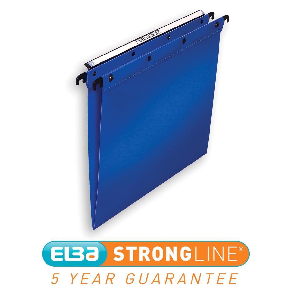 Elba Ultimate Linking Suspension File Polypropylene 15mm V-base Foolscap Blue Ref 100330370 Pack 25