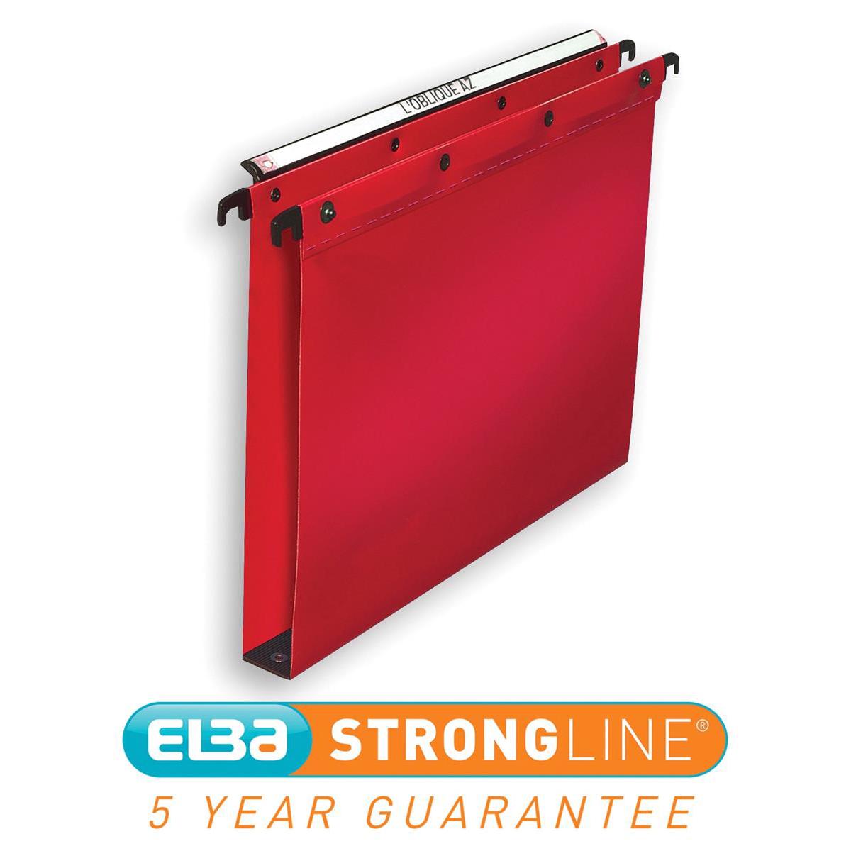 Elba Ultimate Linking Suspension File Polypropylene 30mm Wide-base Foolscap Red Ref 100330374 Pack 25