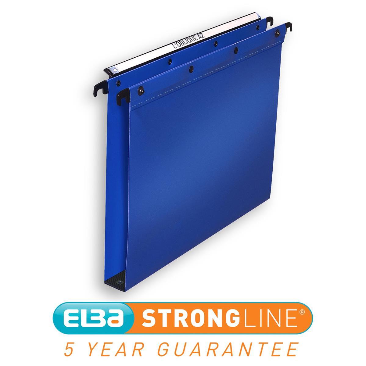 Elba Ultimate Linking Suspension File Polypropylene 30mm Wide-base Foolscap Blue Ref 100330371 Pack 25