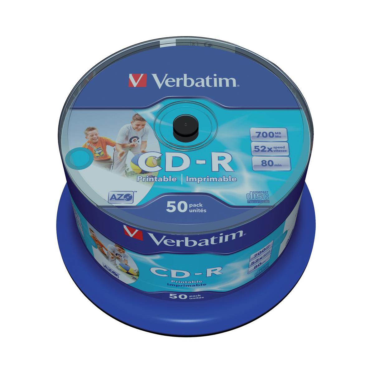 Verbatim CD-R Recordable Disk Inkjet Printable on Spindle 52x Speed 80min 700Mb Ref 43438 [Pack 50]
