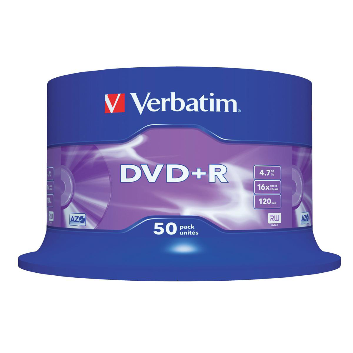 Digital versatile disks DVDs Verbatim DVD+R Recordable Disk Write-once Spindle 16x Speed 120min 4.7Gb Ref 43550 Pack 50
