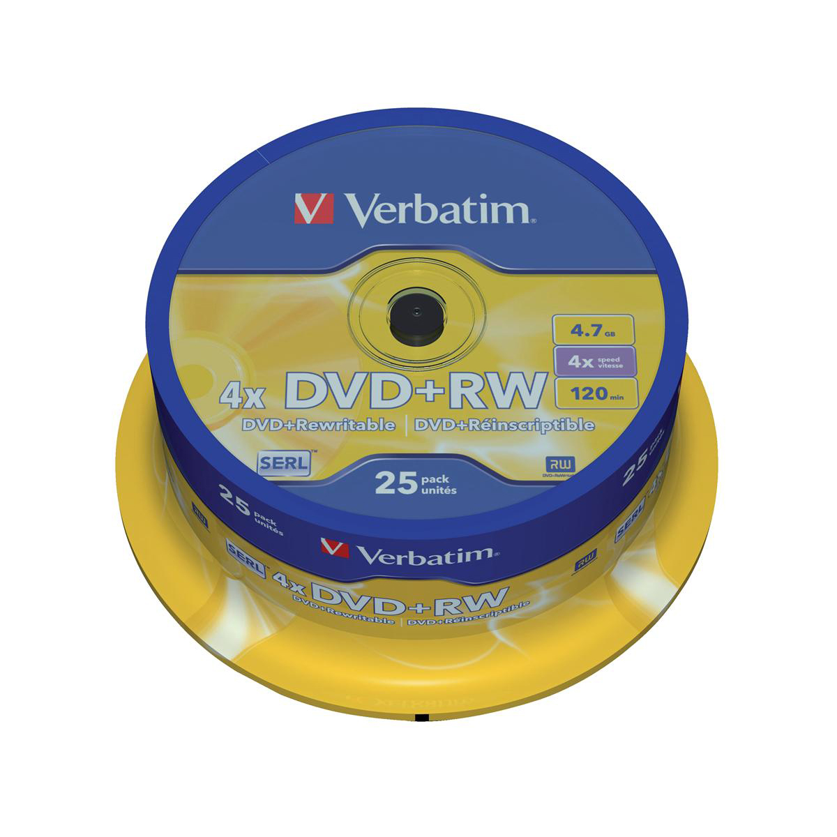 Digital versatile disks DVDs Verbatim DVD+RW Rewritable Disk Spindle 1x-4x Speed 120min 4.7Gb Ref 43489 Pack 25