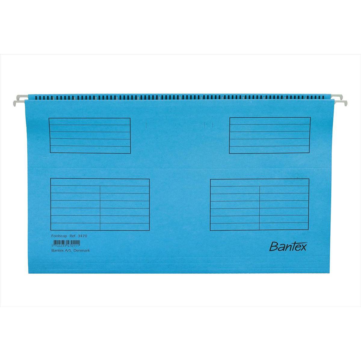 Bantex Flex Suspension File Kraft V-Base 15mm 220gsm Foolscap Blue Ref 100331437 Pack 25