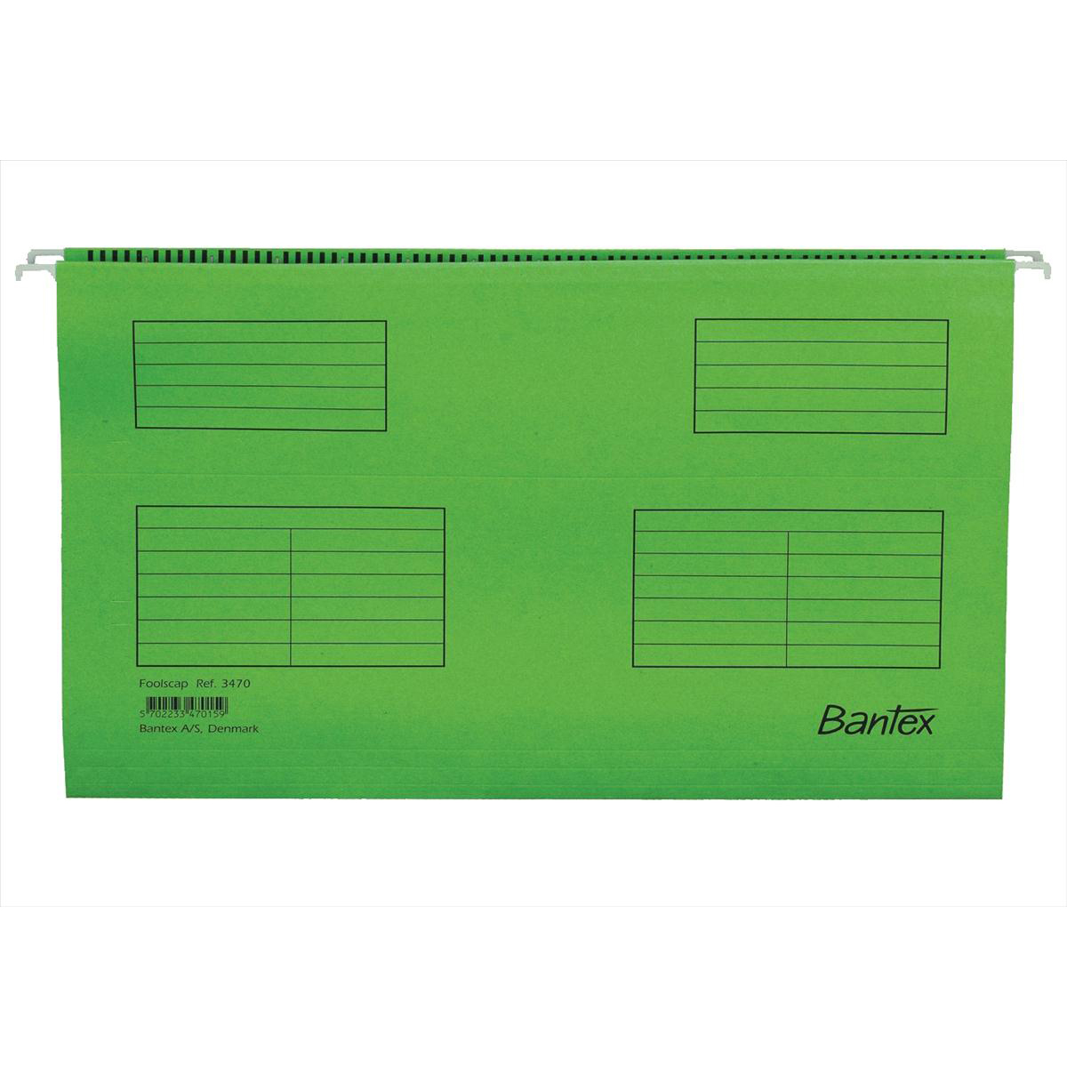 Bantex Flex Suspension File Kraft V-Base 15mm 220gsm Foolscap Green Ref 100331441 Pack 25
