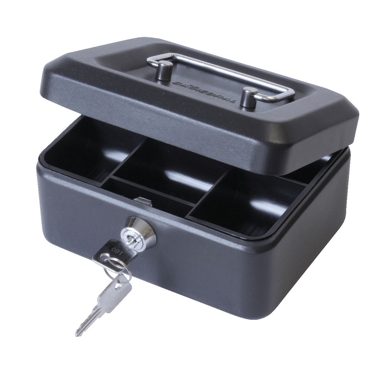 Cash or ticket boxes Cash Box with Lock & 2 Keys Removable Coin Tray 6 Inch W152xD115xH70mm Black