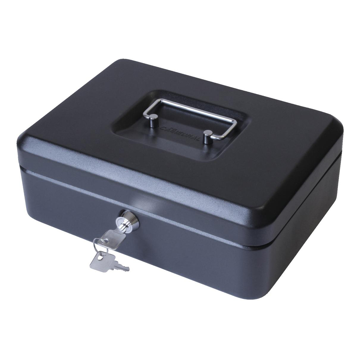 Cash or ticket boxes Cash Box with Lock & 2 Keys Removable Coin Tray 10 Inch W250xD180xH70mm Black