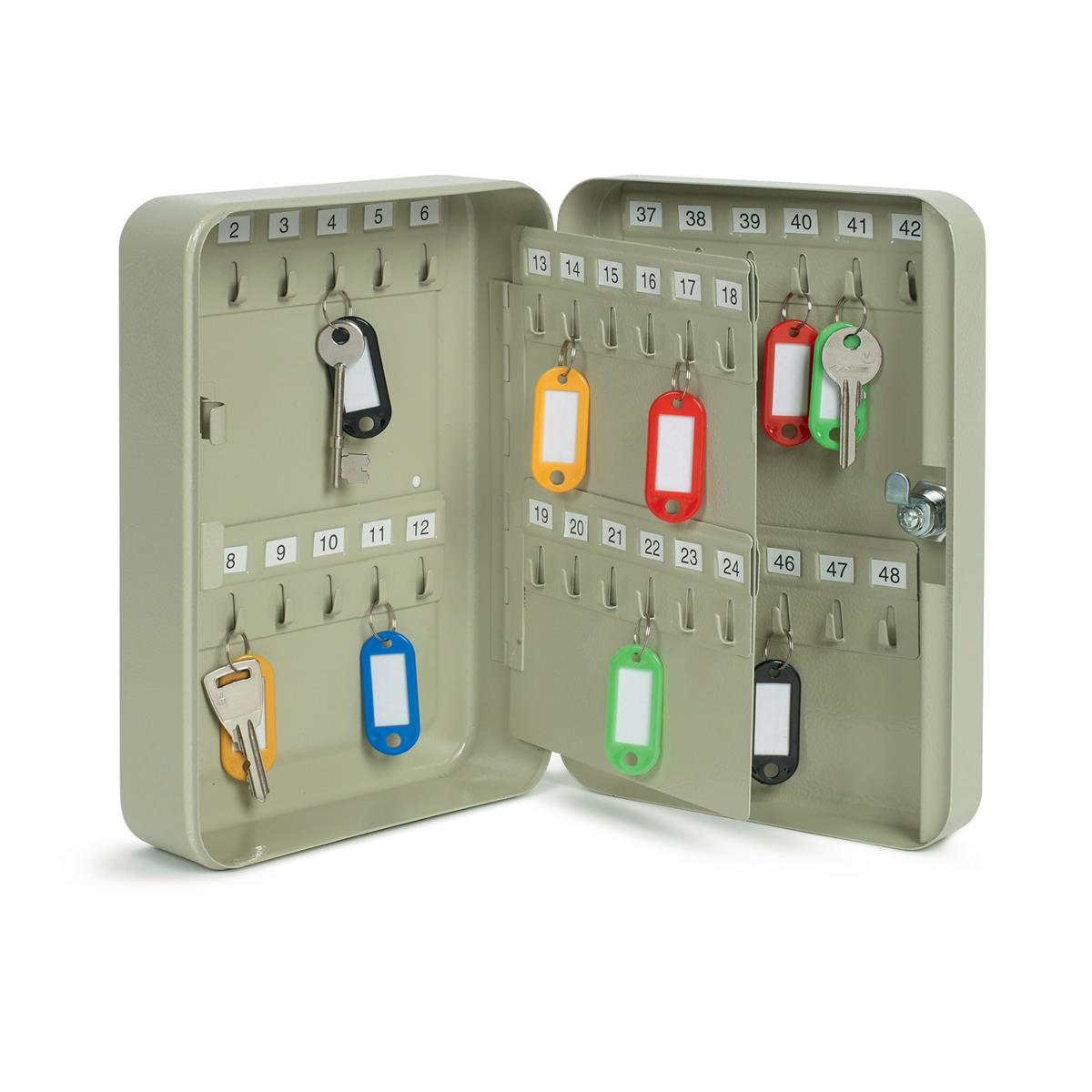 Key Cabinet Steel Lockable With Wall Fixings Holds 48 Keys Grey