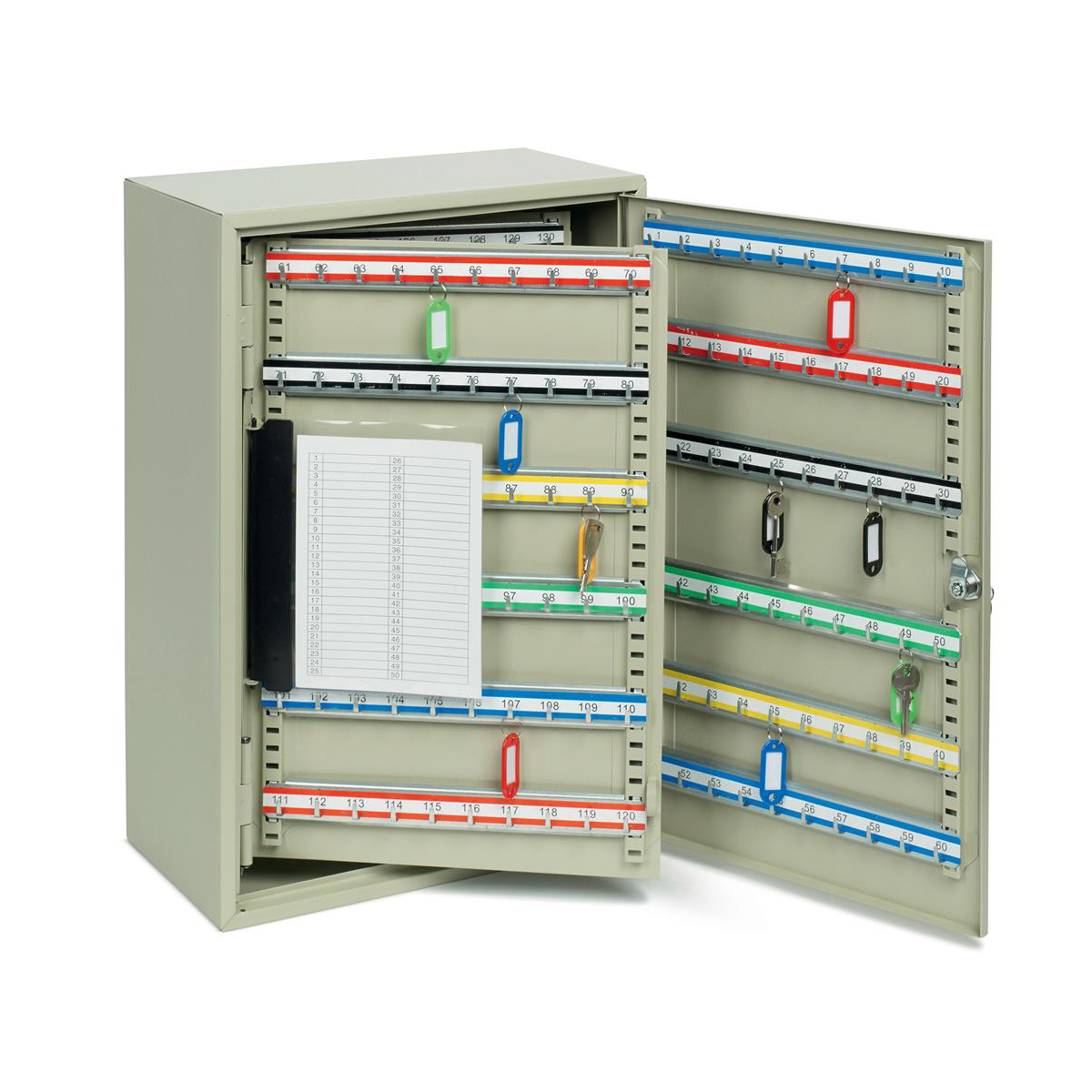 Key Cabinet Steel Lockable With Wall Fixings Holds 300 Keys Grey