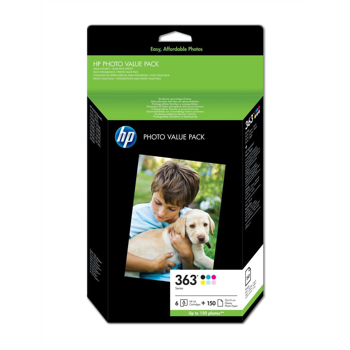 HP No.363 Photo Pack Inkjet Cartridges + Paper 10x15cm 150 Sheet 6 Colour Ref Q7966EE