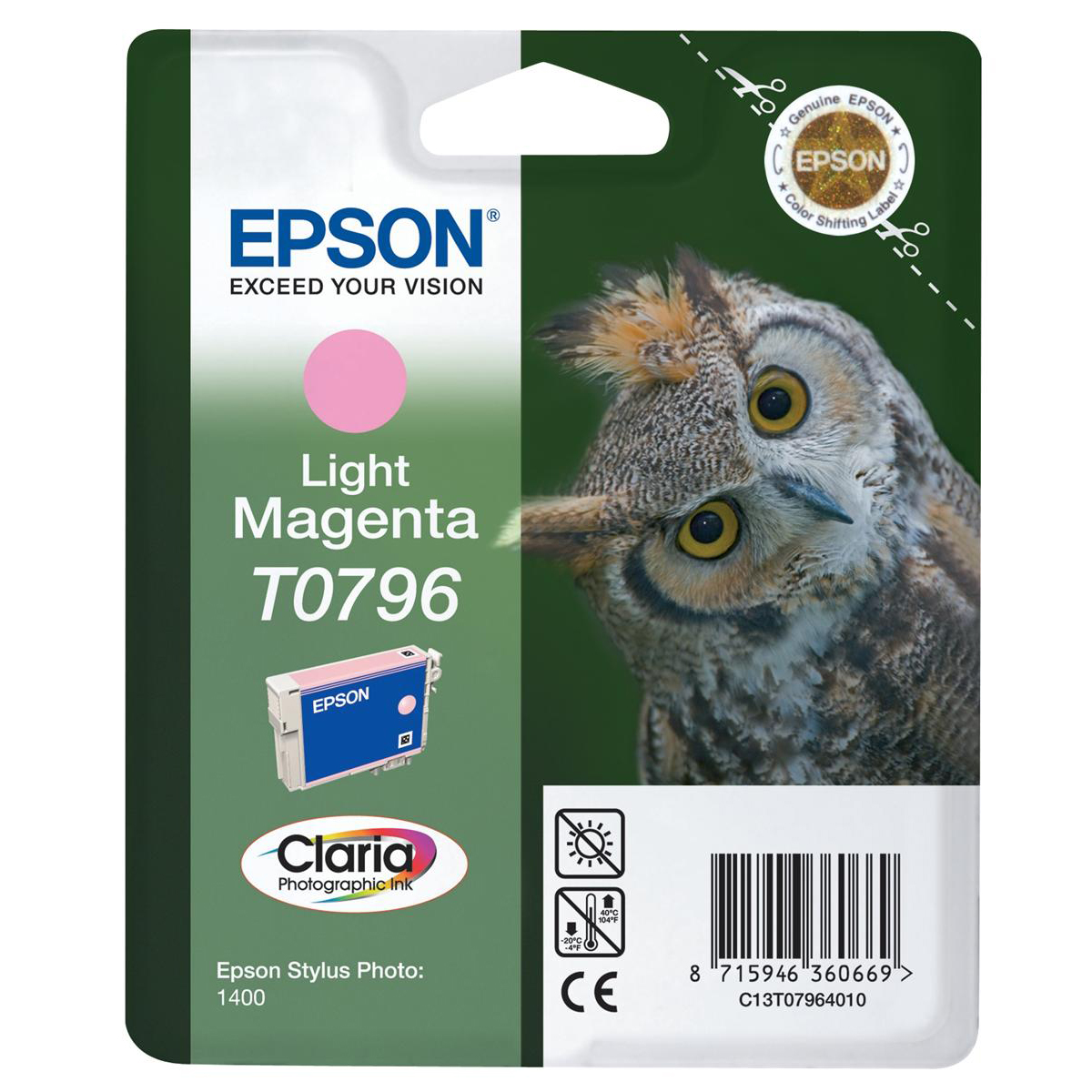 Epson T0796 Inkjet Cartridge Owl High Yield Page Life 975pp 11ml Light Magenta Ref C13T07964010