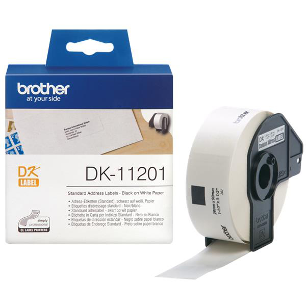 Labelling Tapes & Labels Brother Label Address Standard 29x90mm White Ref DK11201 Roll of 400