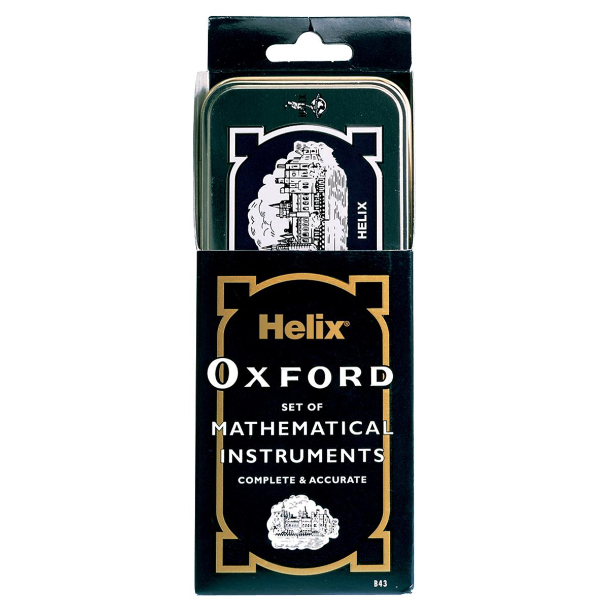 Geometry Equipment Helix Oxford Maths Set includes Various Stationery Items and Storage Tin Black Ref B43000