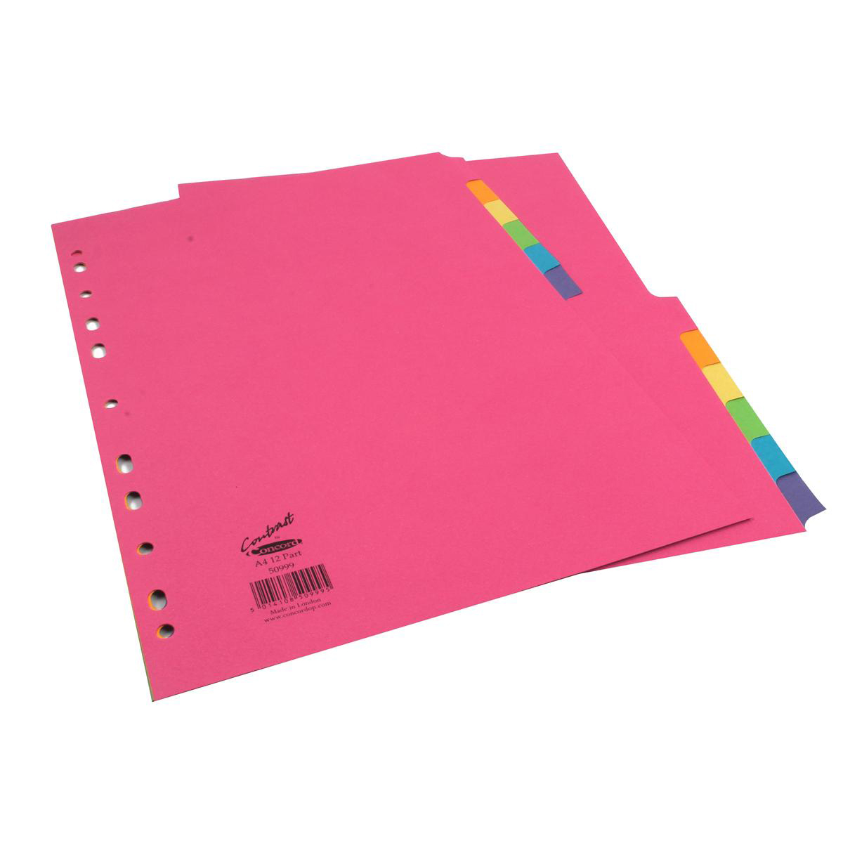 Concord Bright Subject Dividers 12-Part Card Multipunched 160gsm A4 Assorted Ref 50999