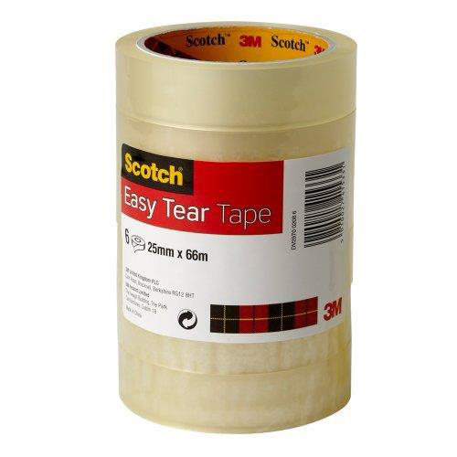 Scotch Easy Tear Transparent Tape 25mmx66m Ref ET2566T6 [Pack 6] [3 for 2] Jan-Dec 2018