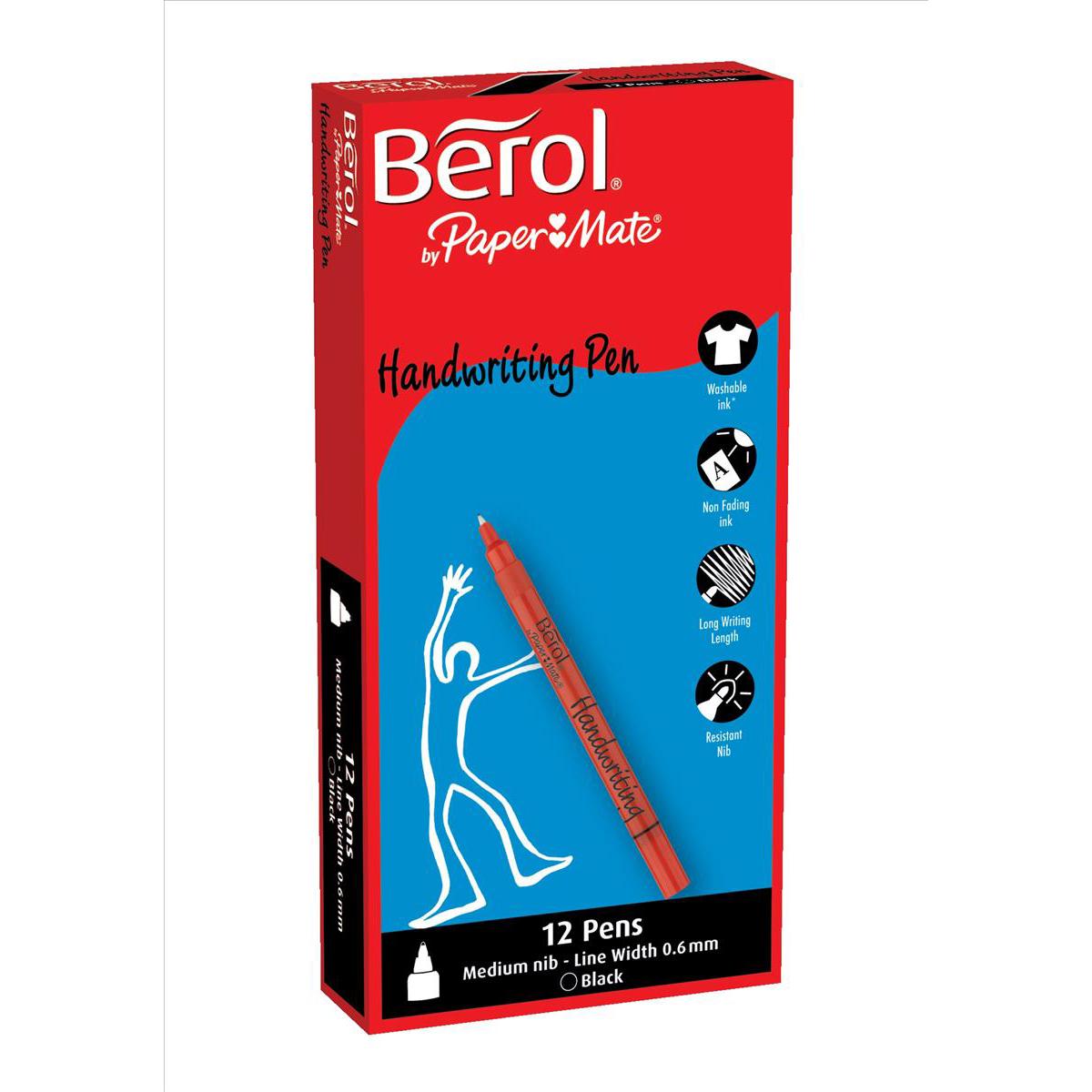 Berol Handwriting Pen Water-based Ink Plastic Black Ref S0378750 Pack 144 Bulk Pack Jan-Dec 2018