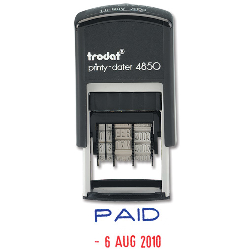 Trodat Printy 4850/L2 Dater Stamp Compact Wording Paid in Blue Date in Red Ref 76373