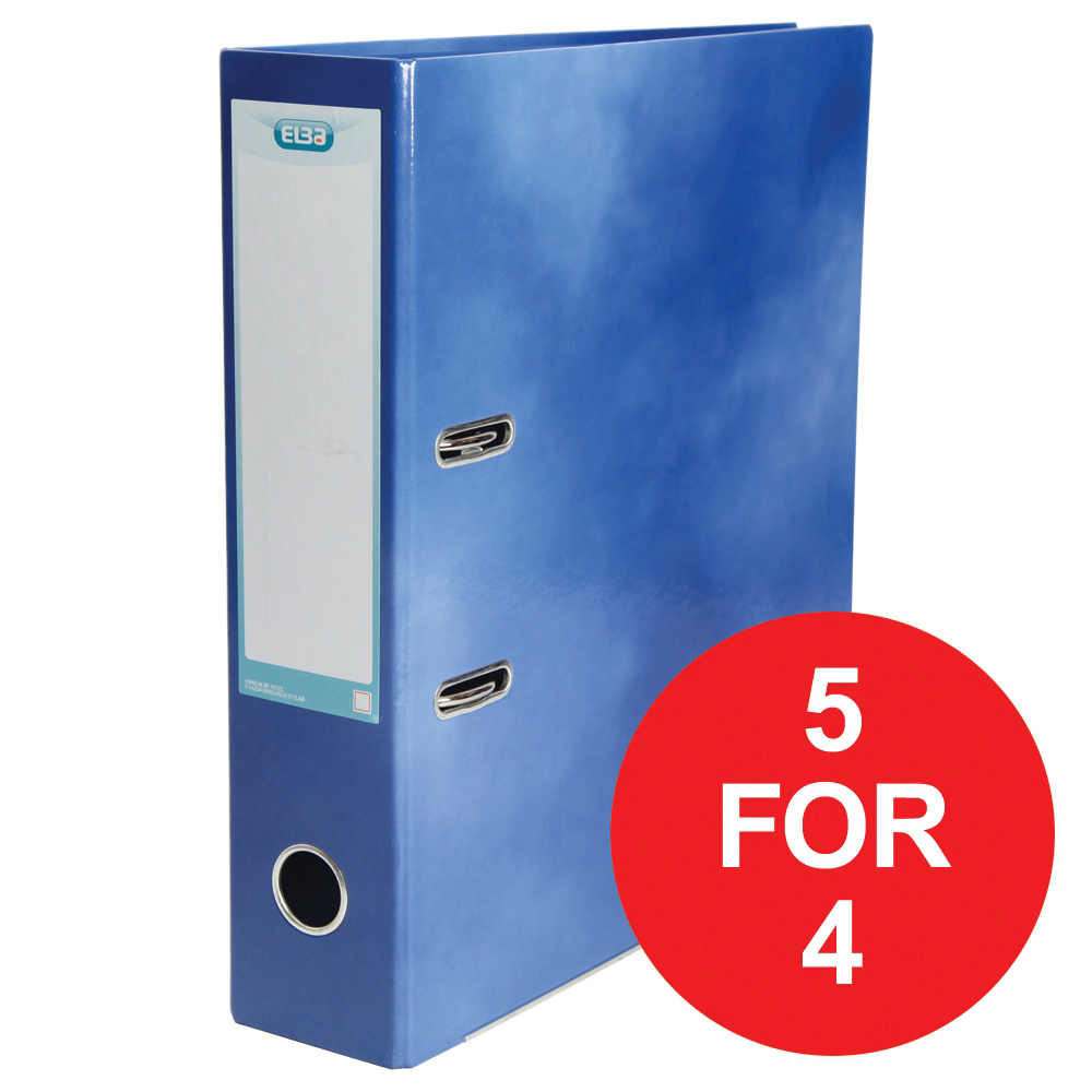 Elba Lever Arch File Laminated Gloss Finish 70mm Capacity A4+ Blue Ref 400021003 [5 For 4] Jan-Dec 2018