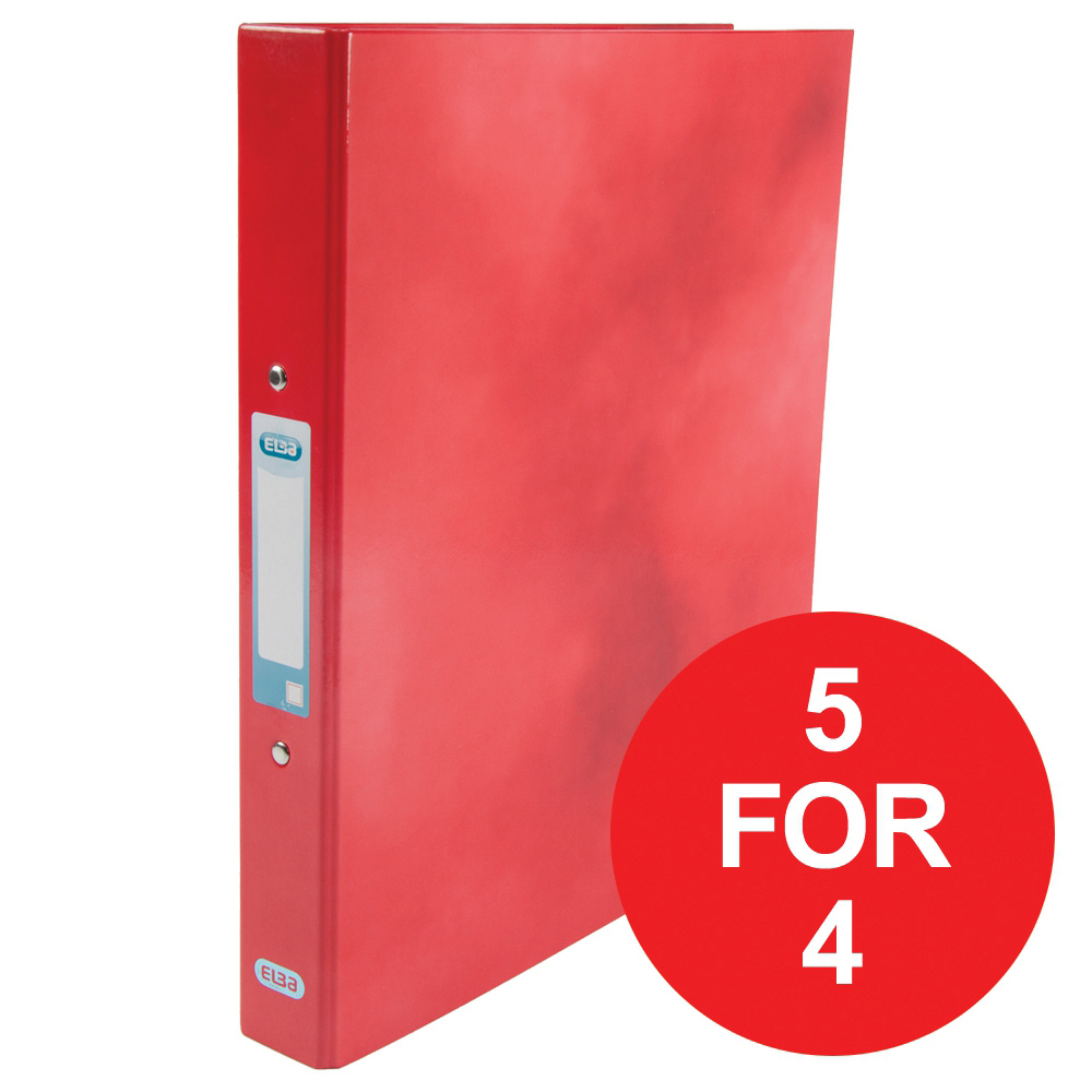 Elba Ring Binder Laminated Gloss Finish 2 O-Ring 25mm A4 plus Red Ref 400017755 [5 For 4] Jan-Dec 2018