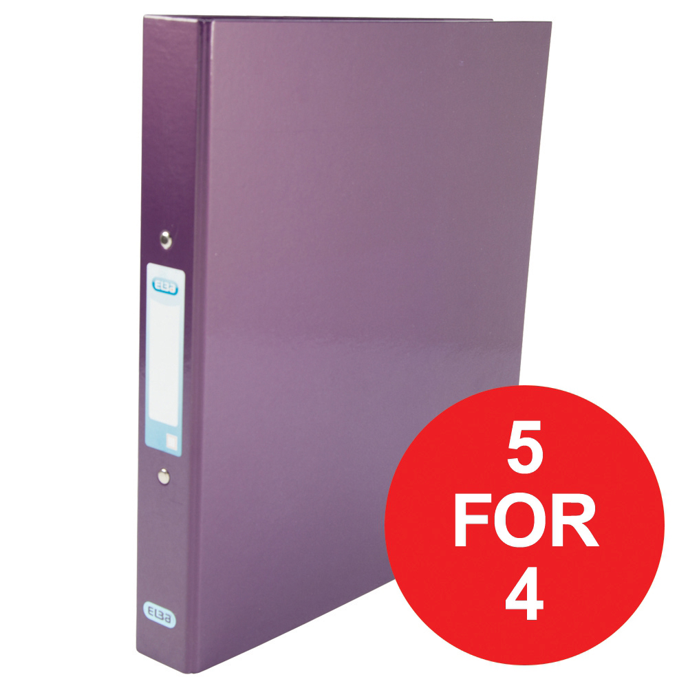 Elba Ring Binder Laminated Gloss 2 O-Ring 25mm A4 Metallic Purple Ref 400017758 [5 For 4] Jan-Dec 2018