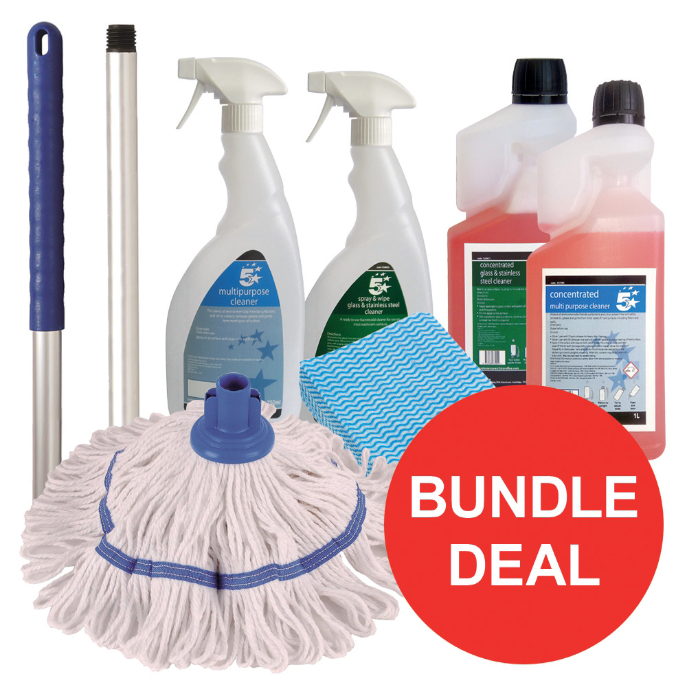 5 Star Facilities General Cleaning Bundle with Mop/Cloths/Cleaning Fluids [Bundle Offer]