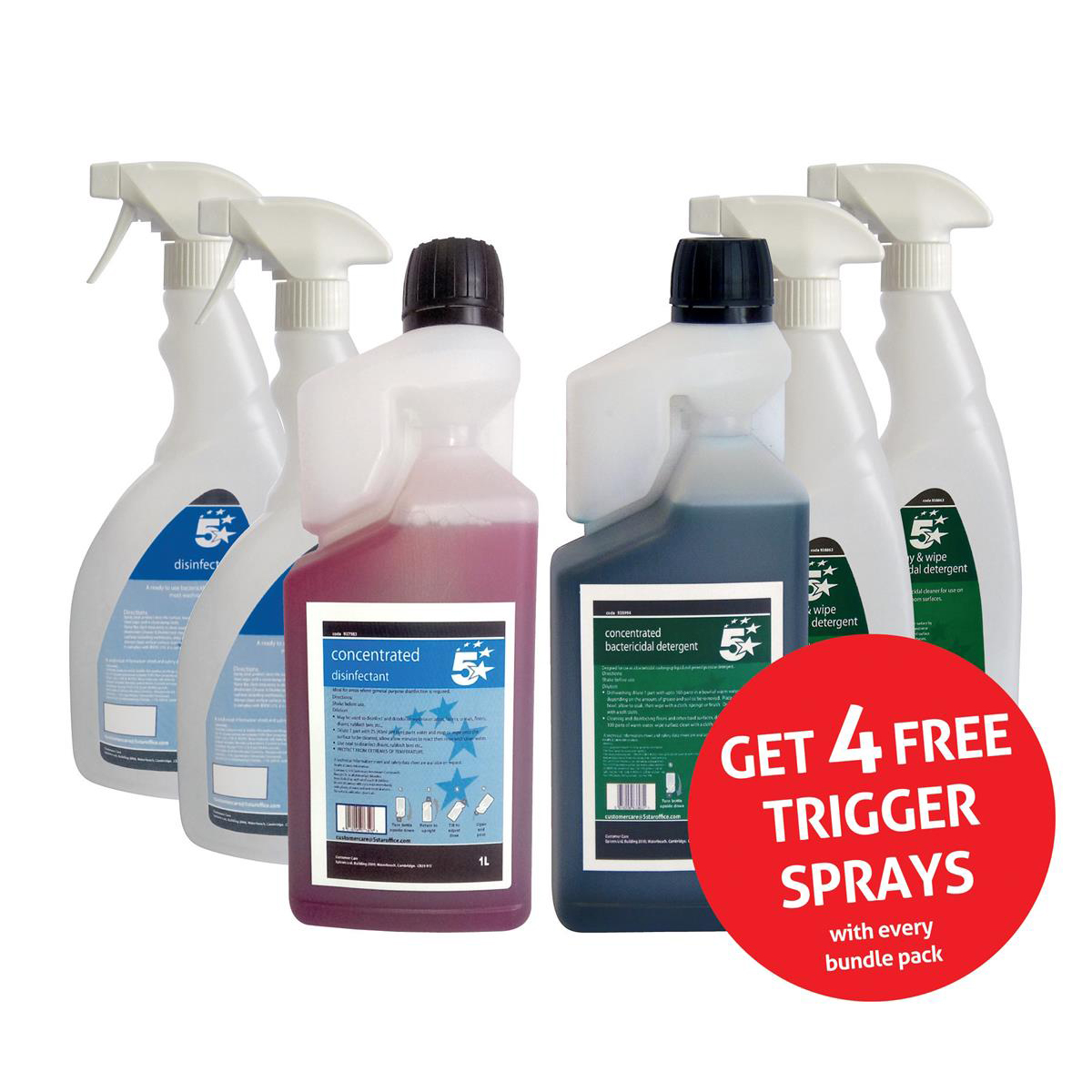 5 Star Facilities Disinfectant & Bactericidal Detergent Concentrated 1 Litre FREE 750ml Trigger Bottles