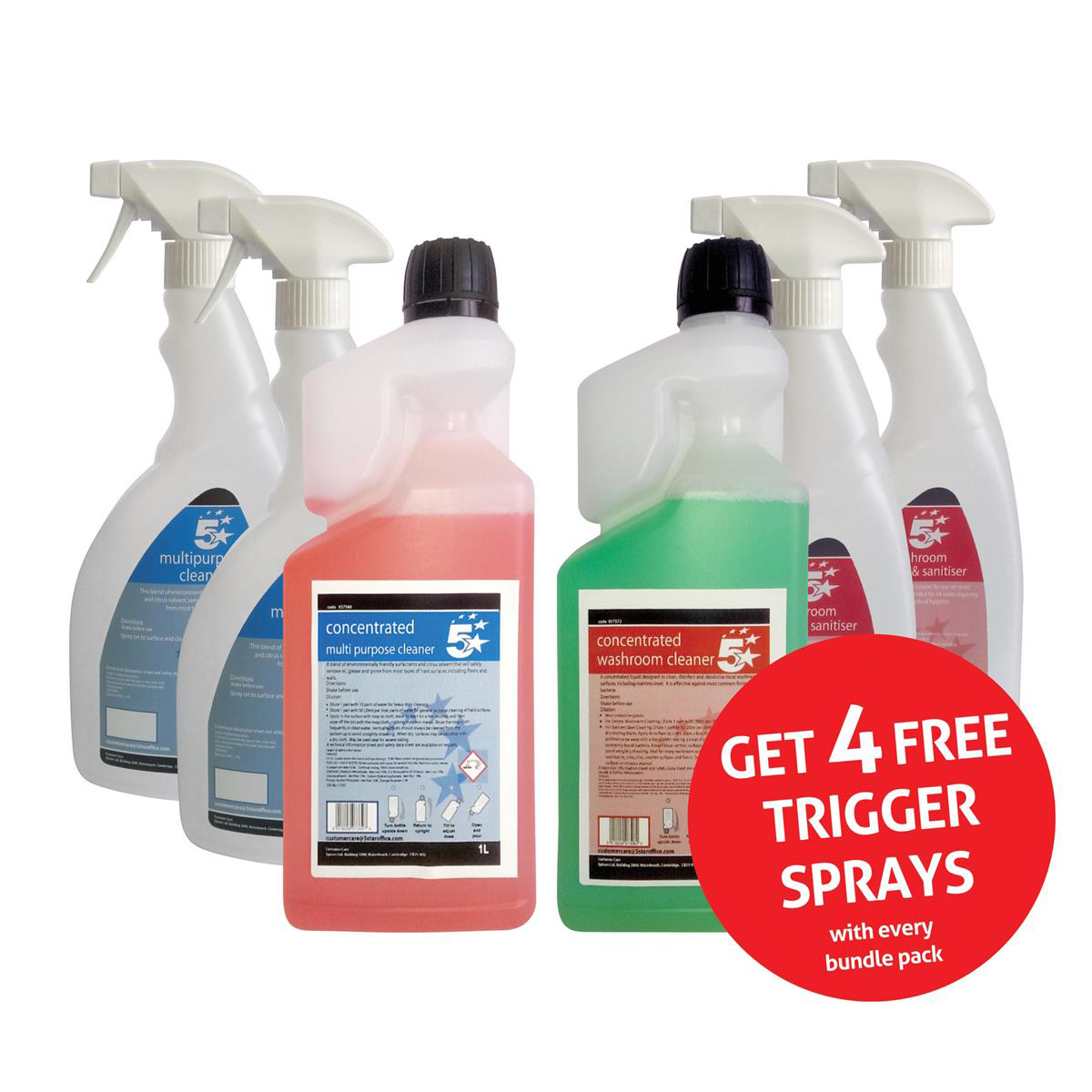 5 Star Facilities Multipurpose Cleaner & Washroom Cleaner 1 Litre [FREE 750ml Trigger Bottles]