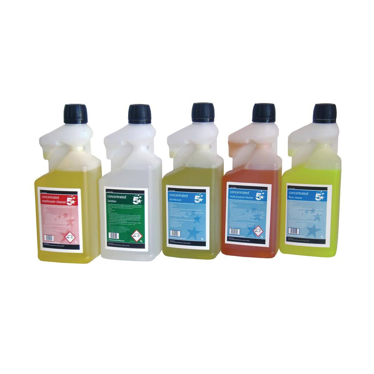 5 Star Facilities Multipurpose Cleaner & Washroom Cleaner 1 Litre [FREE 750ml Trigger Bottles]