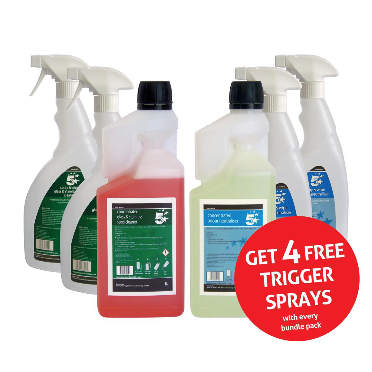 5 Star Facilities Glass/Stainless Steel Cleaner & Odour Neutraliser 1 Litre FREE 750ml Trigger Bottles