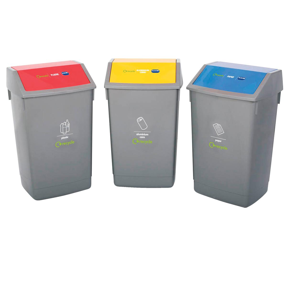 Recycling Bins Recycle Bin Kit 3x 60 Litre Bins with Colour Coded Lids Flip Top Ref 505576 Pack 3