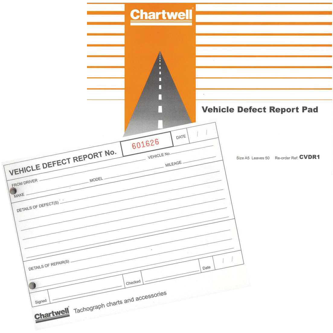 Vehicle Equipment / Supplies Chartwell Tachograph Vehicle Defect Report Pad 50 Sheets Ref CVDR1