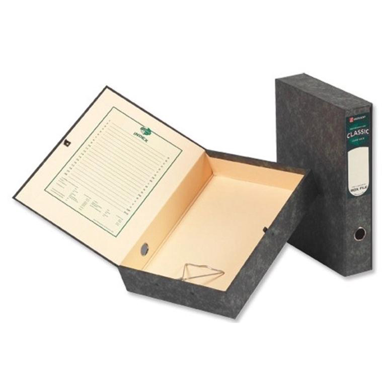 Rexel Classic Box File 70mm Spine Press Button Closure Foolscap Black/Green Cloud Ref 30115EAST Pack 5