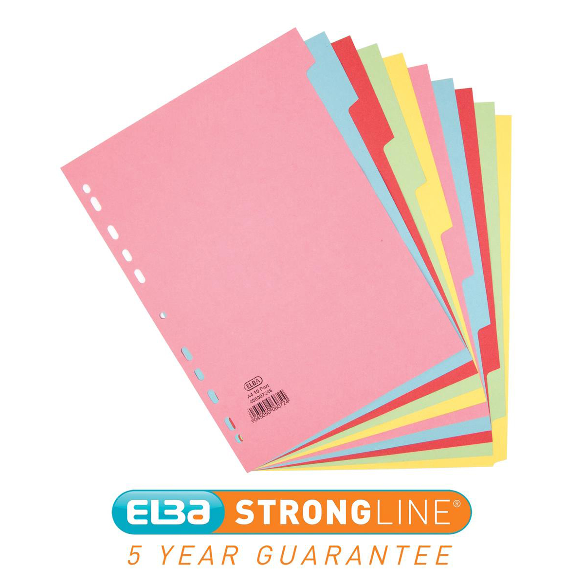 Elba Subject Card Dividers Europunched 10 Part 160gsm A4 Assorted Ref 400007246-XX [3 For 2] Jan-Dec 2018