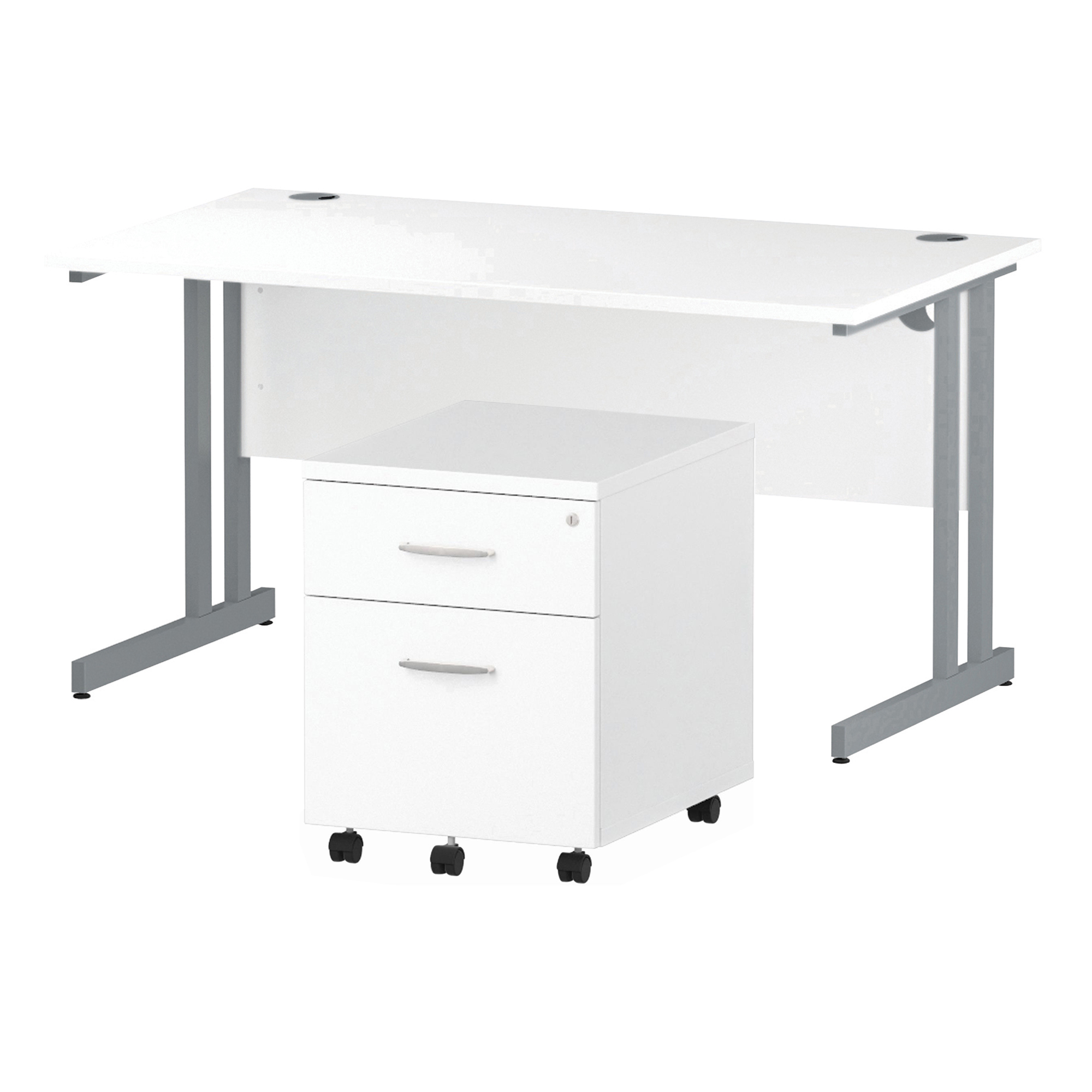 Desks Trexus Cantilever Desk 1400x800 & 2 Drawer Pedestal White Bundle Offer Feb-Apr 2020